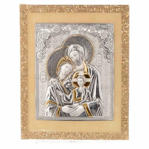 Quadro Sacra Famiglia Swarovski Oro e Argento