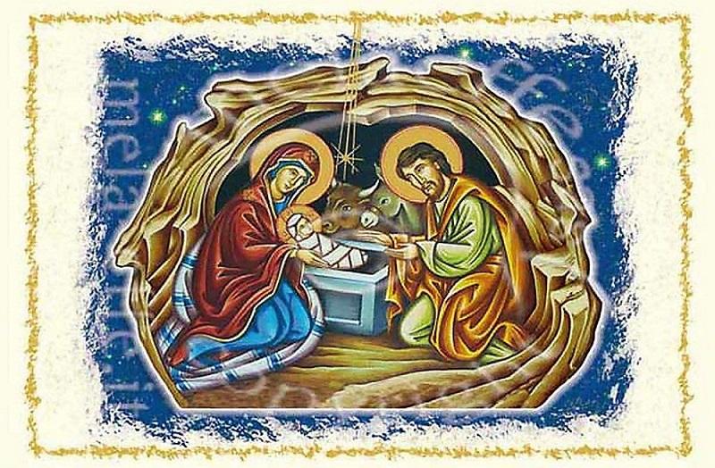 Biglietto auguri Natale nascita di Gesù orizzontale