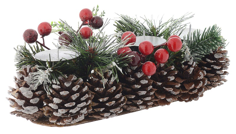 Centrotavola Avvento Natale portacandela per 4 candele