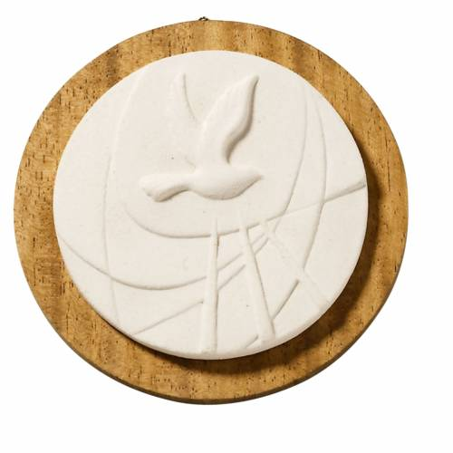 quadretto tondo bianco cresima con legno