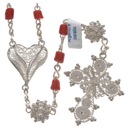rosario argento 800 e corallo